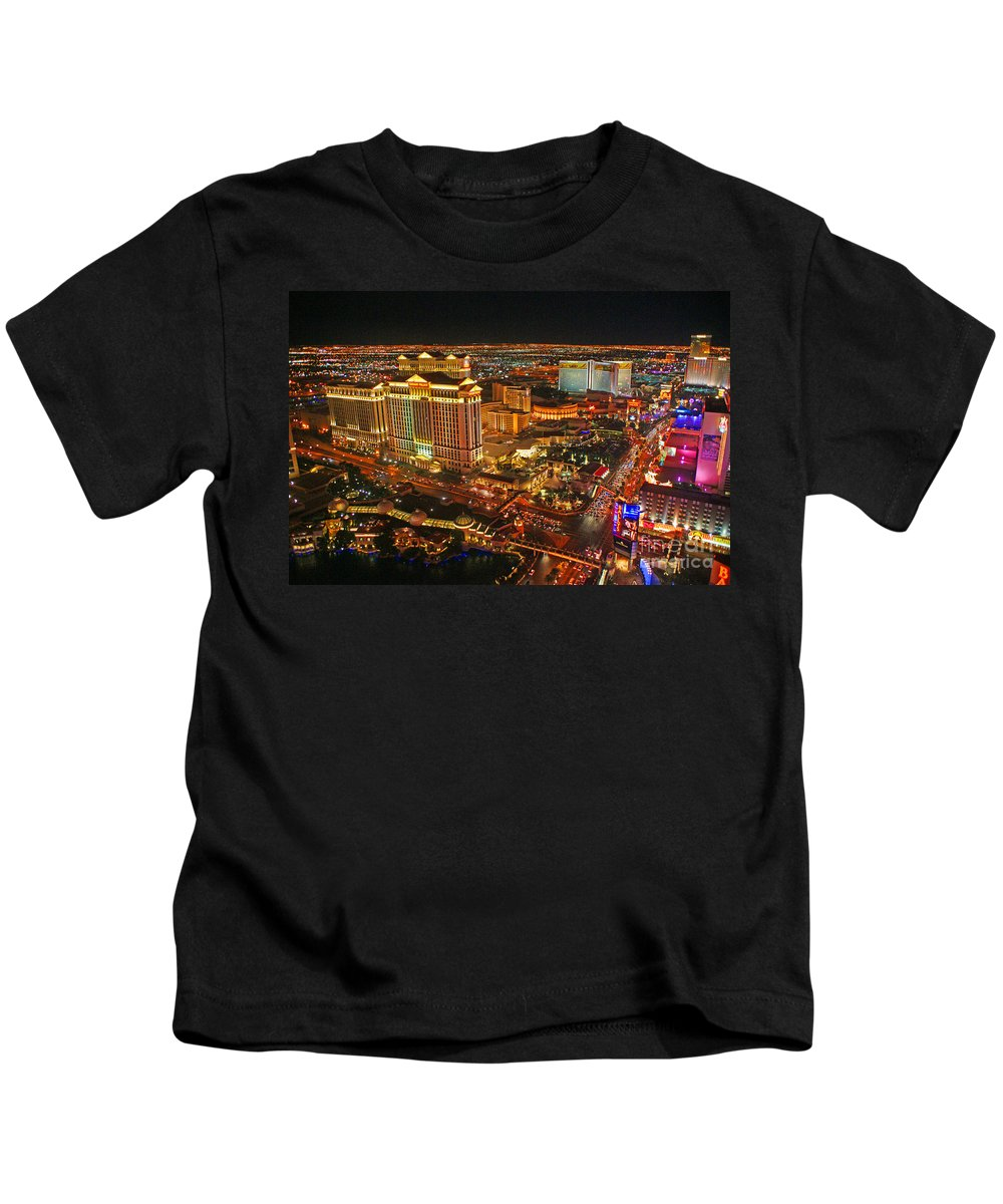 Las Vegas Kids T-Shirt featuring the photograph Caesars Palace On The Strip by Randy Harris