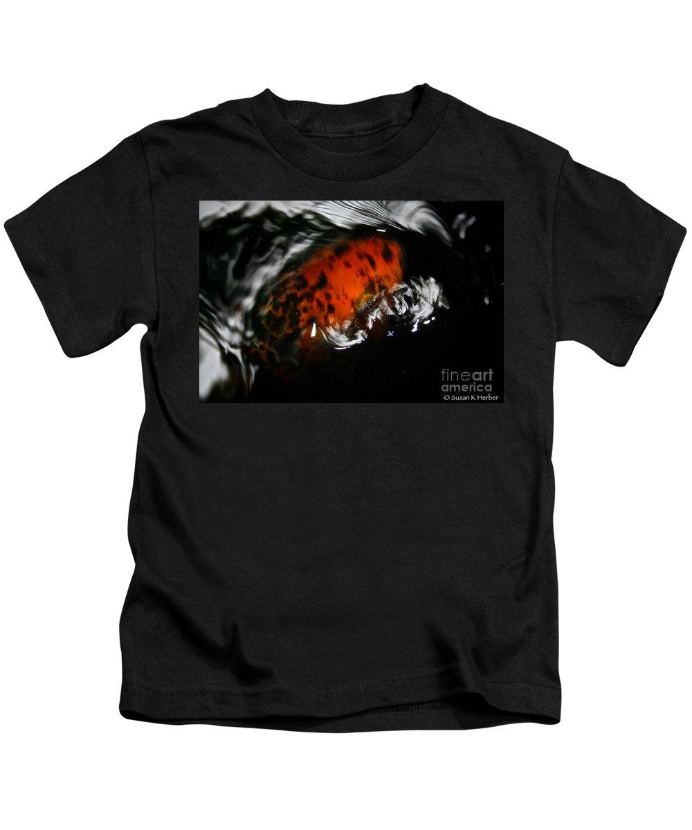 Koi Kids T-Shirt featuring the photograph Calico Koi Wake by Susan Herber
