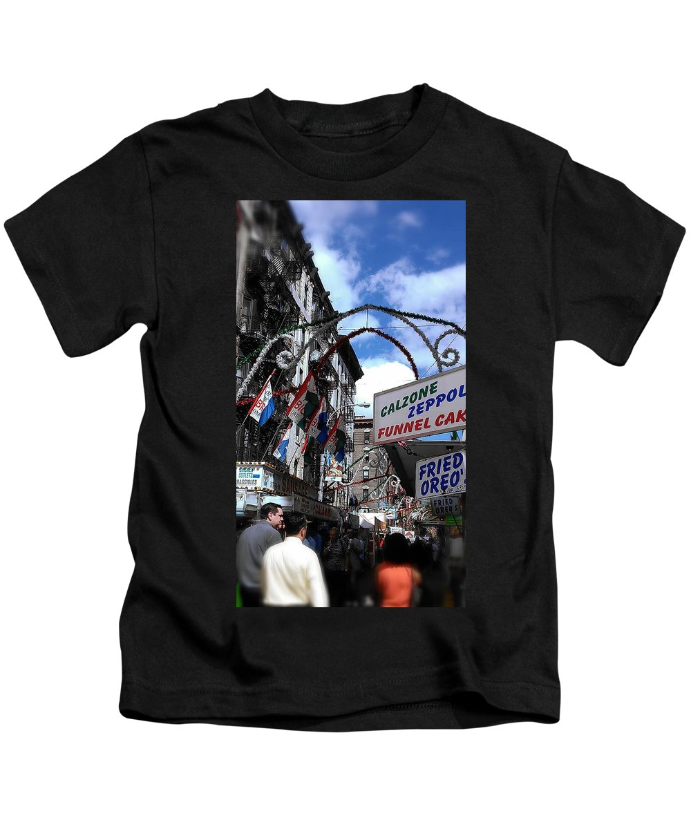 Feast Of San Gennaro Kids T-Shirt featuring the photograph Calzone Time by Catie Canetti