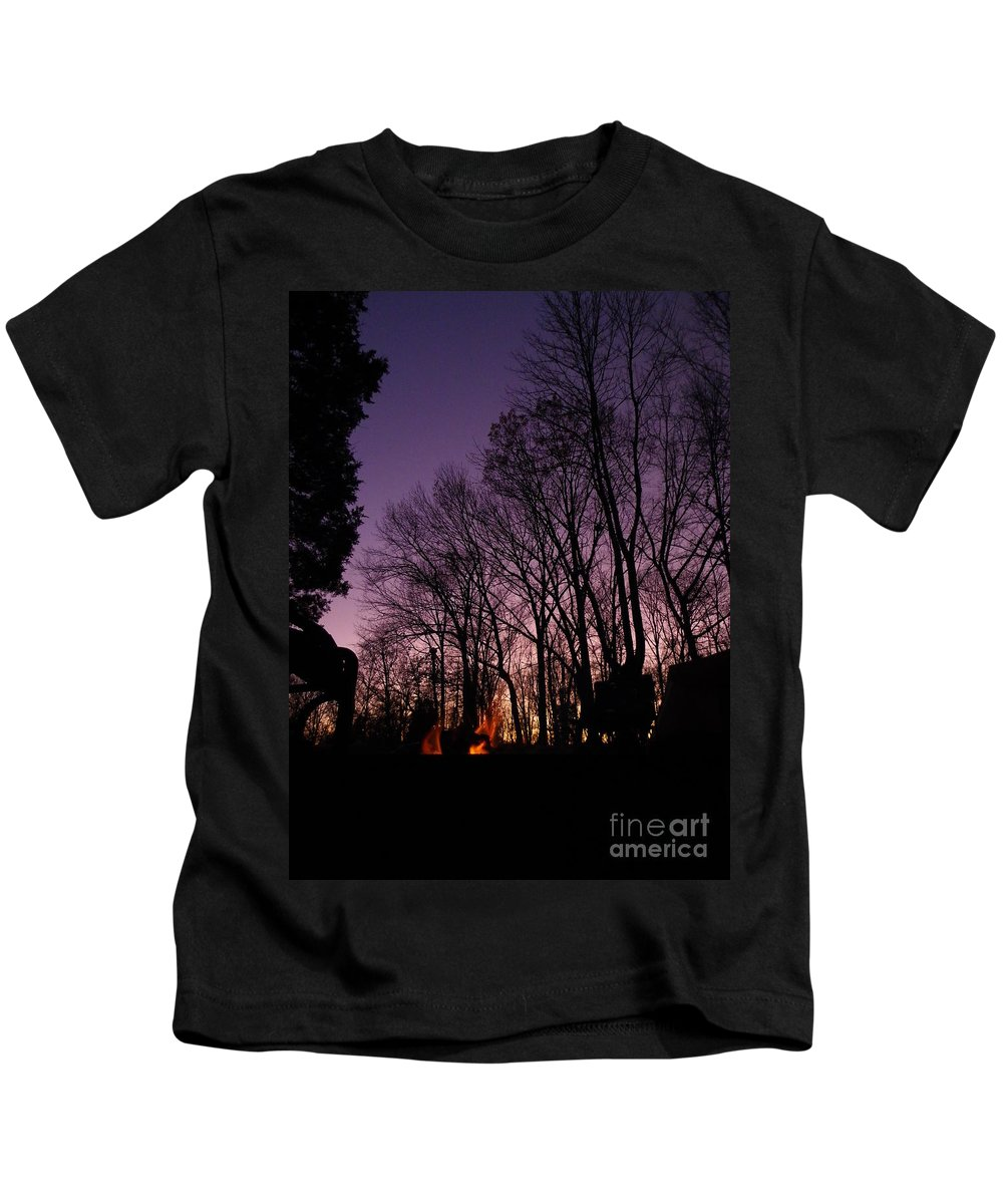 Purple Kids T-Shirt featuring the photograph Camp Fire Sunset by Charleen Treasures