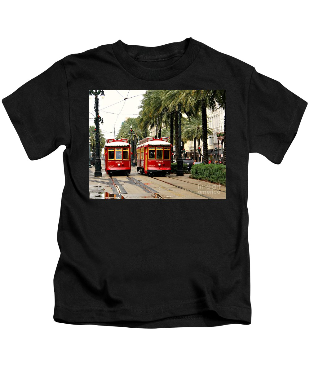 New Orleans Kids T-Shirt featuring the photograph Canal Street by Perry Webster