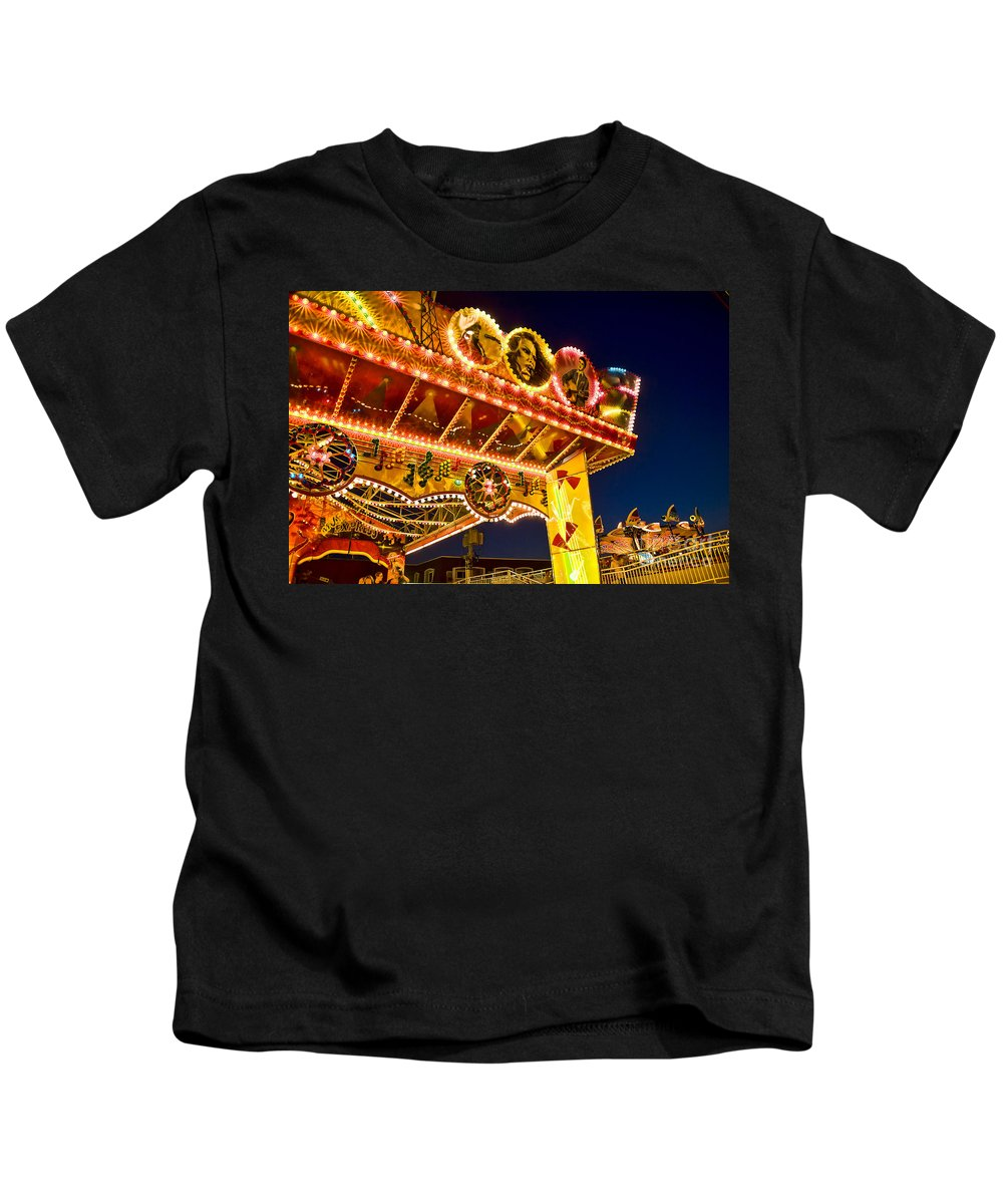 Boardwalk Kids T-Shirt featuring the photograph Carnival Ride by John Greim