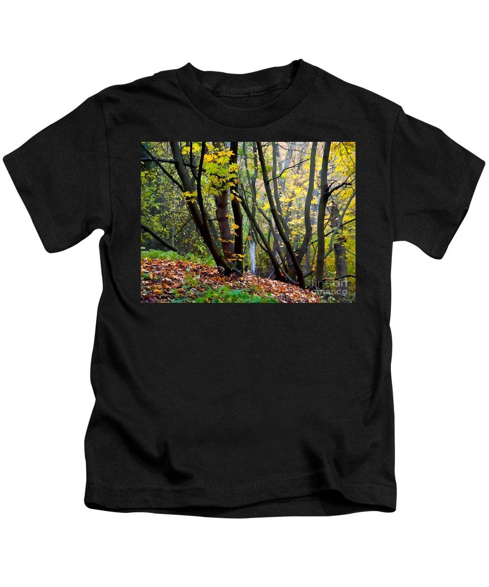 Autumn Kids T-Shirt featuring the digital art Cartoon Forest by Ari Salmela