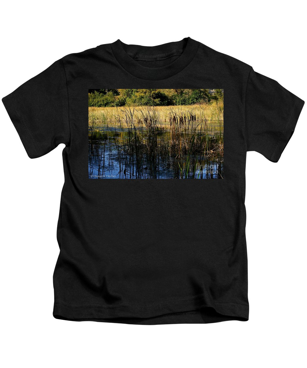 Outdoors Kids T-Shirt featuring the photograph Cattail Duck Cover by Susan Herber