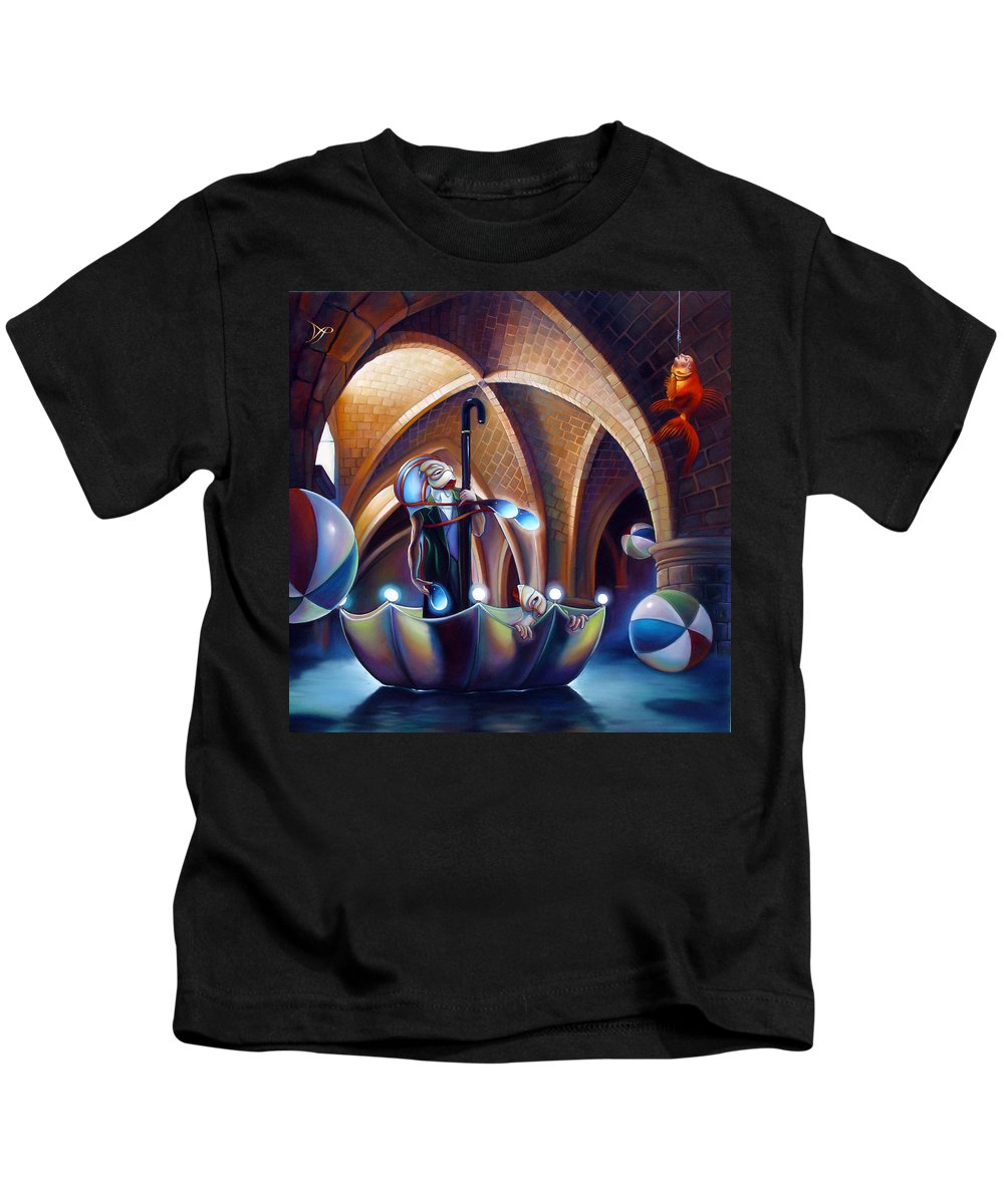 Umbrella Kids T-Shirt featuring the painting Caverna Magica by Patrick Anthony Pierson