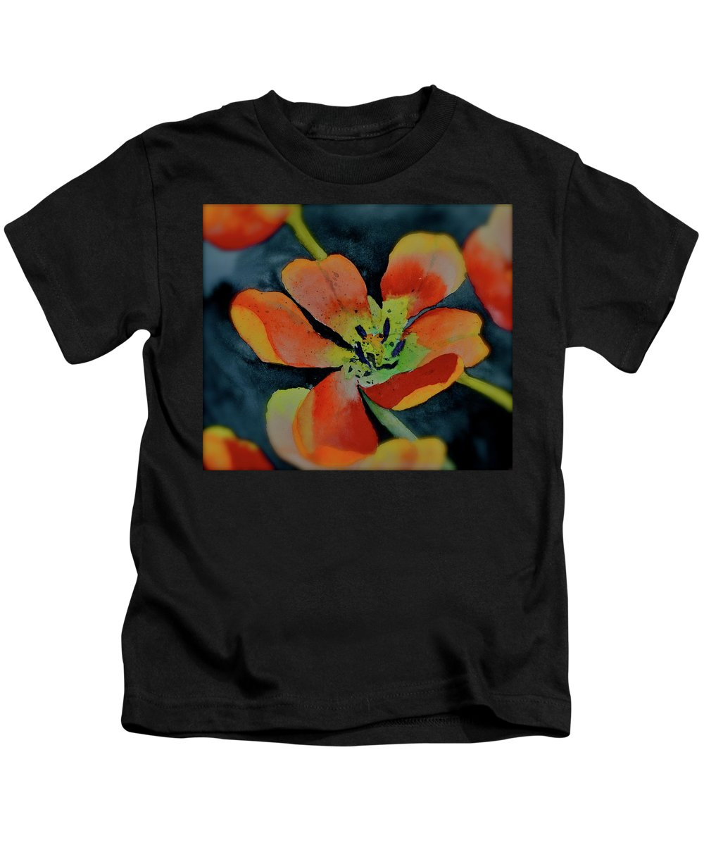 Red Tulips Kids T-Shirt featuring the painting Central by Beverley Harper Tinsley