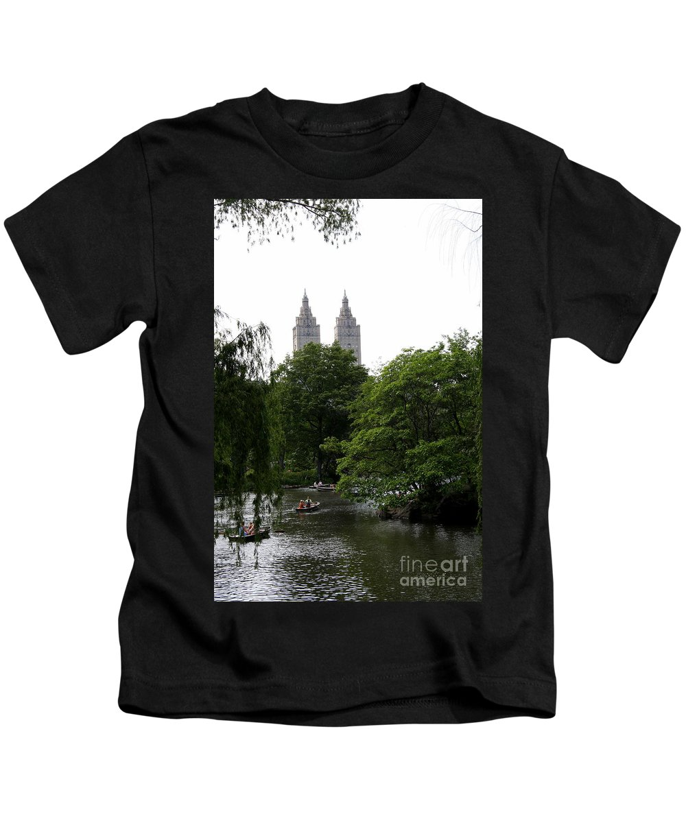 Pond Kids T-Shirt featuring the photograph Central Park Pond by Christiane Schulze Art And Photography