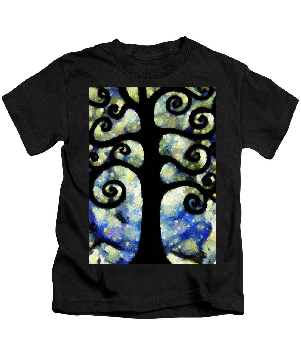 Chaos Kids T-Shirt featuring the photograph Chaos Tree On A Starry Night by Angelina Tamez