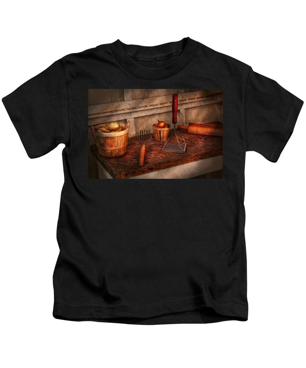 Chef Kids T-Shirt featuring the photograph Chef - Food - Equipment For Making Latkes by Mike Savad