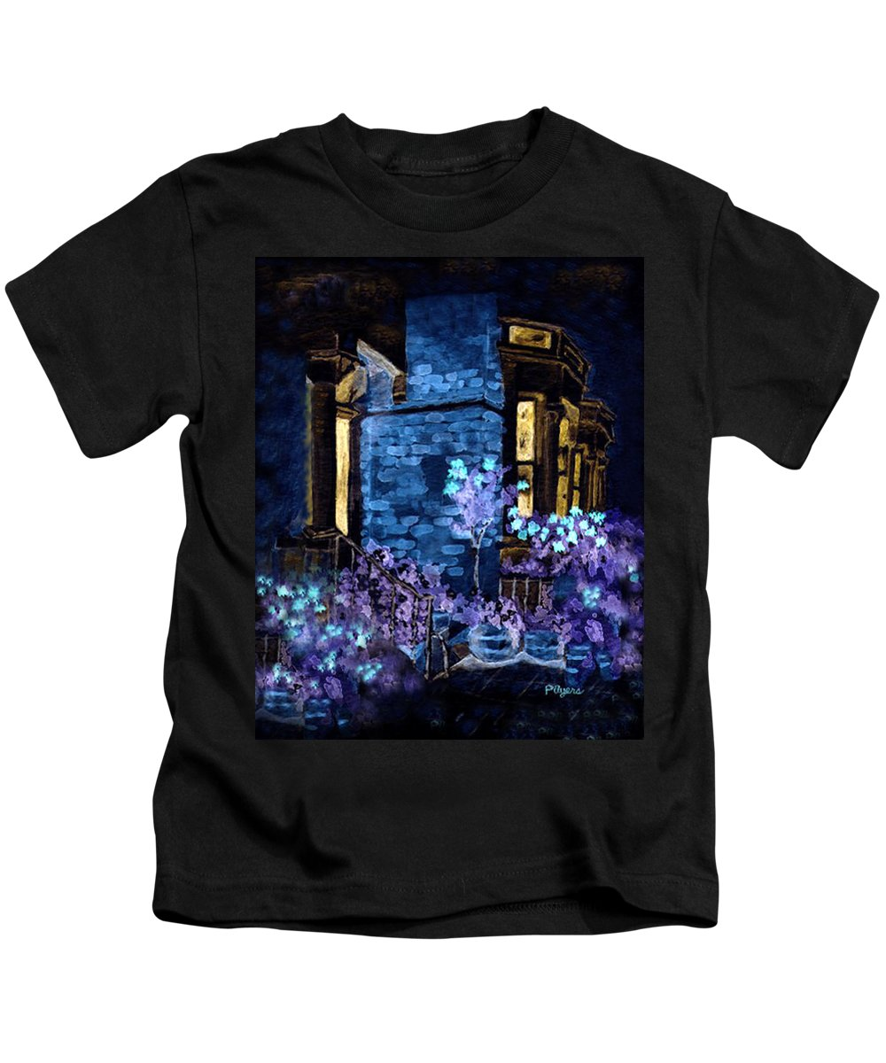 Watercolor Kids T-Shirt featuring the painting Chelsea Row At Night by Paula Ayers