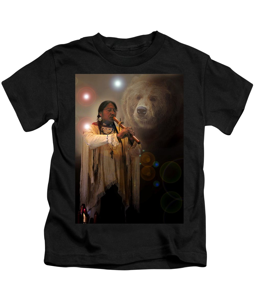 Native American Music Kids T-Shirt featuring the photograph Cheyenne Flute Musician by Nancy Griswold