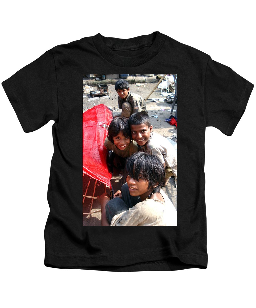 Labor Kids T-Shirt featuring the photograph Children Of Labor In India by Sumit Mehndiratta