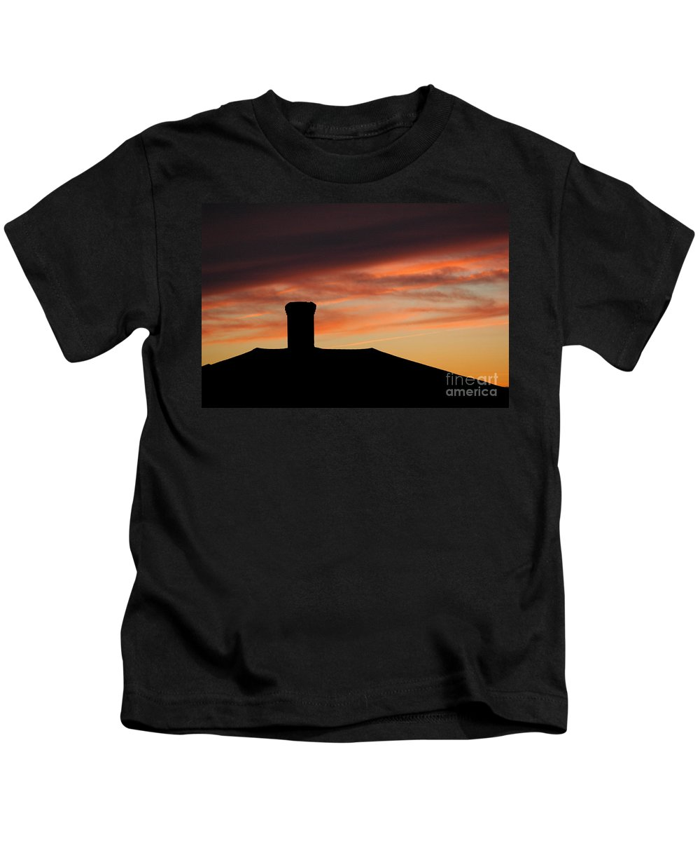 Chimney Kids T-Shirt featuring the photograph Chimney And Sunset by Mike Nellums