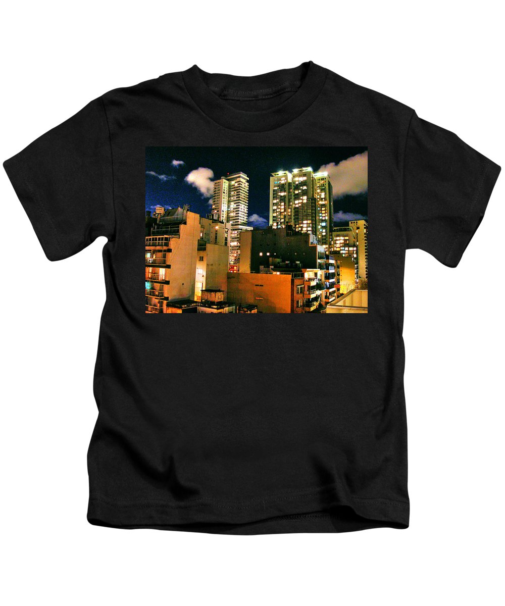 Buenos Aires Kids T-Shirt featuring the photograph City Nights by Francisco Colon
