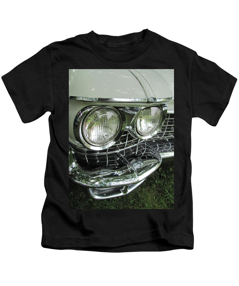 Vintage Kids T-Shirt featuring the photograph Classic Car - White Grill 1 by Anita Burgermeister