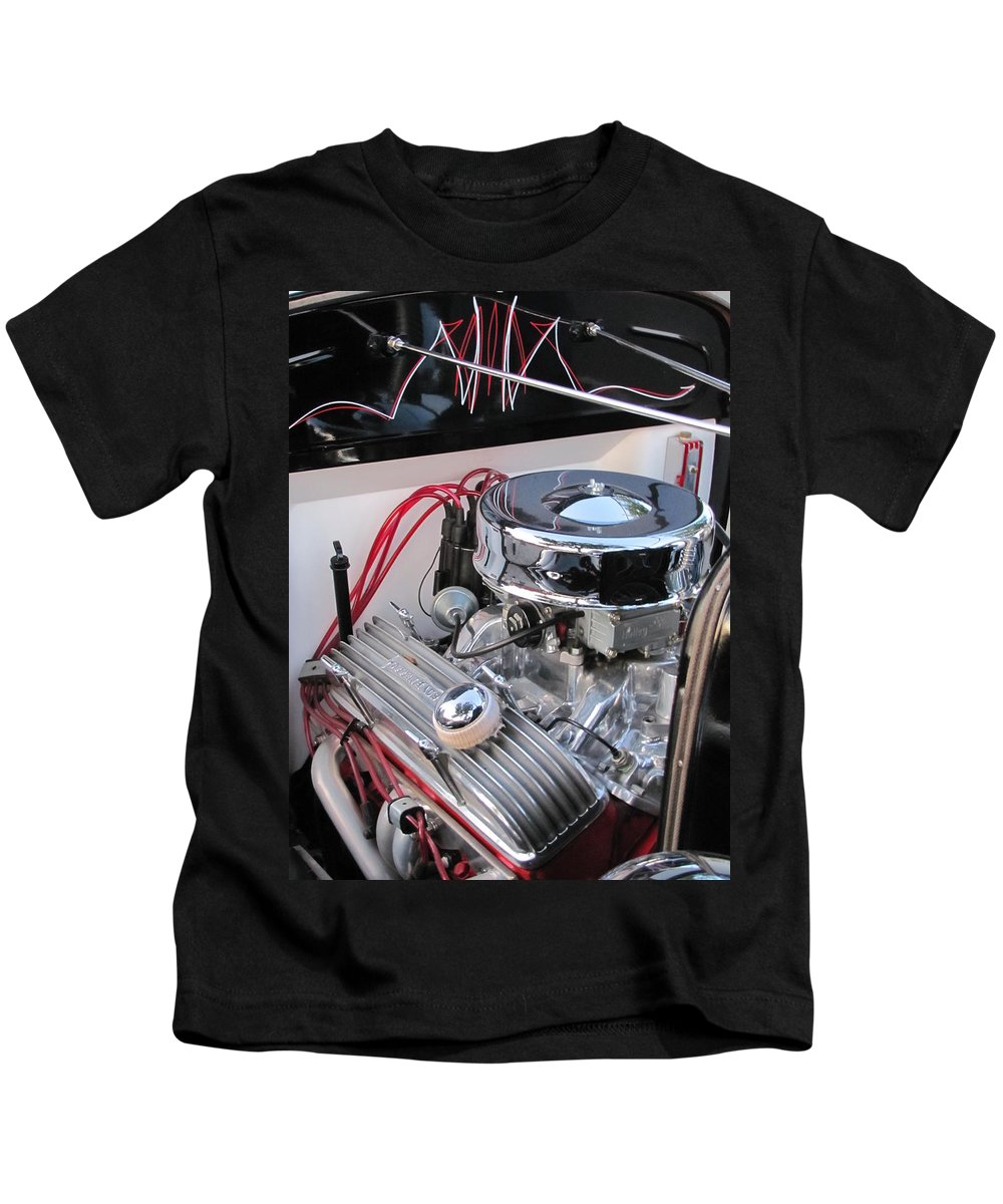 Vintage Kids T-Shirt featuring the photograph Classic Car Engine by Anita Burgermeister