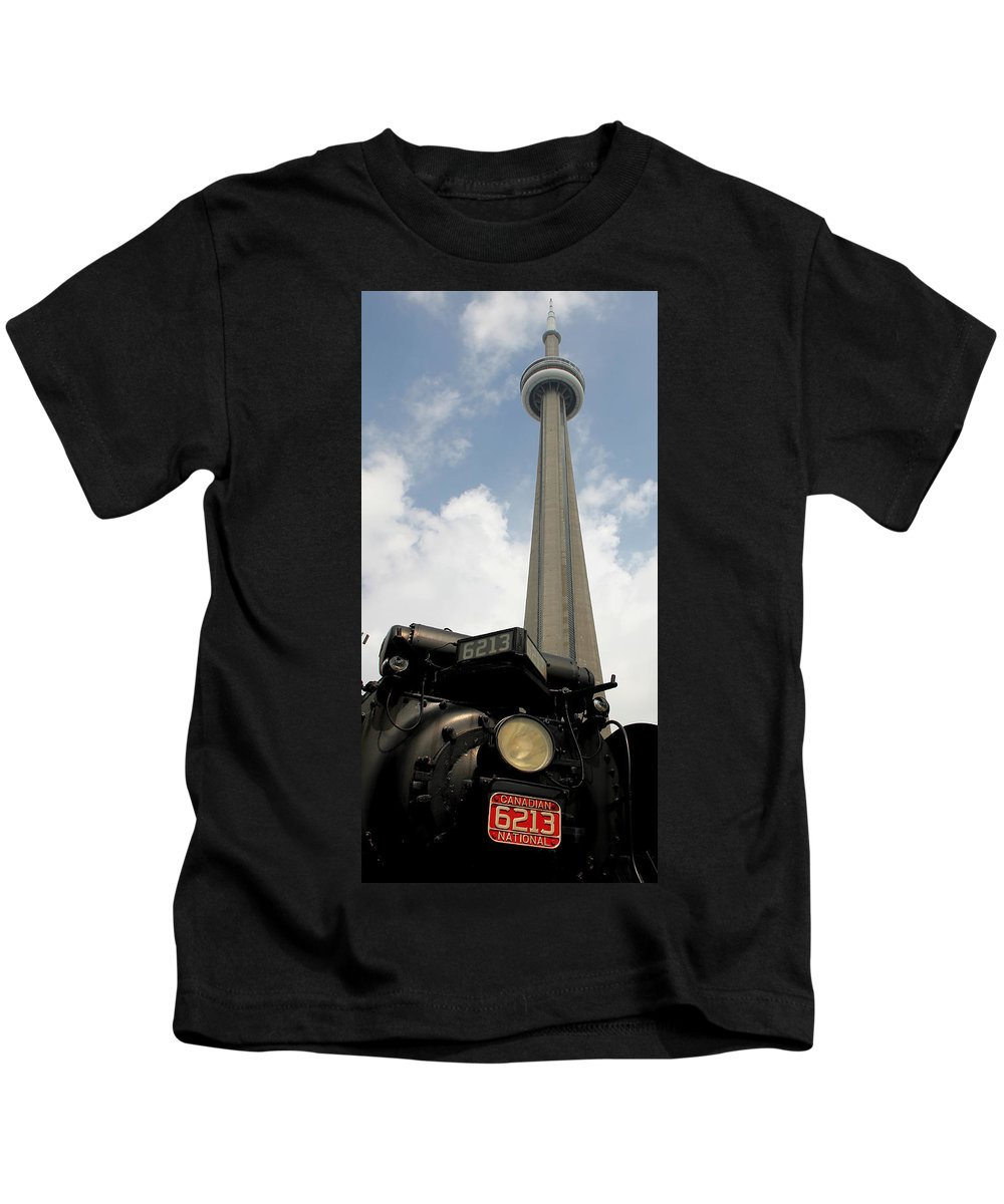 Canadian National Kids T-Shirt featuring the photograph Cn Tower And Train by Andrew Fare