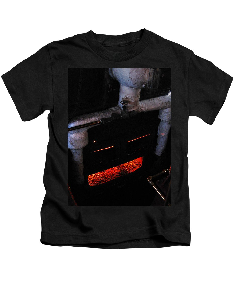 Face Kids T-Shirt featuring the photograph Coal Burner Face by Denise Keegan Frawley