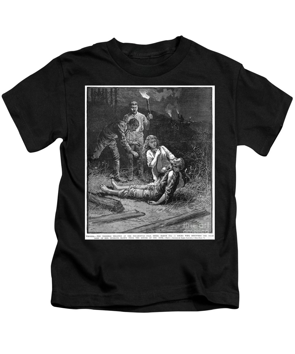 1884 Kids T-Shirt featuring the photograph Coal Mine Disaster, 1884 by Granger