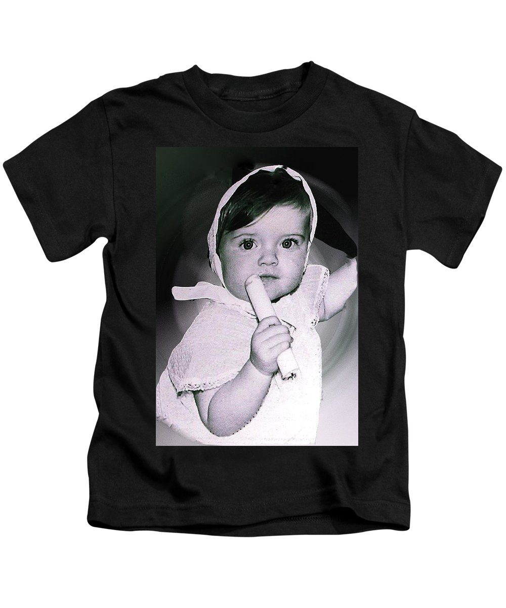 Colette Kids T-Shirt featuring the photograph Colette 1 Year Old Direct Pappa Hans To Take A Photography 2 by Colette V Hera Guggenheim