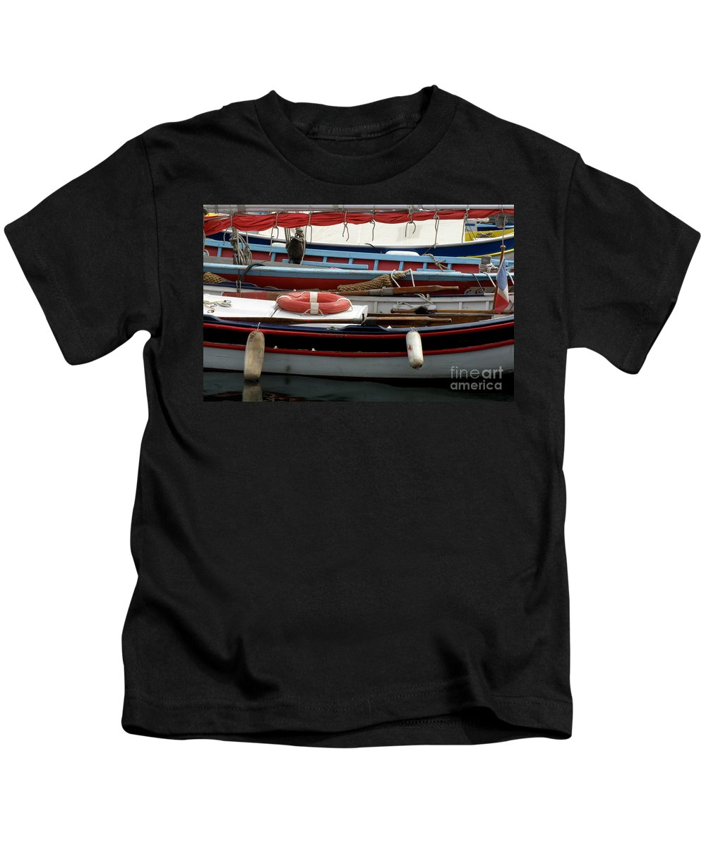 Boats Kids T-Shirt featuring the photograph Colorful Wooden Boats by Lainie Wrightson