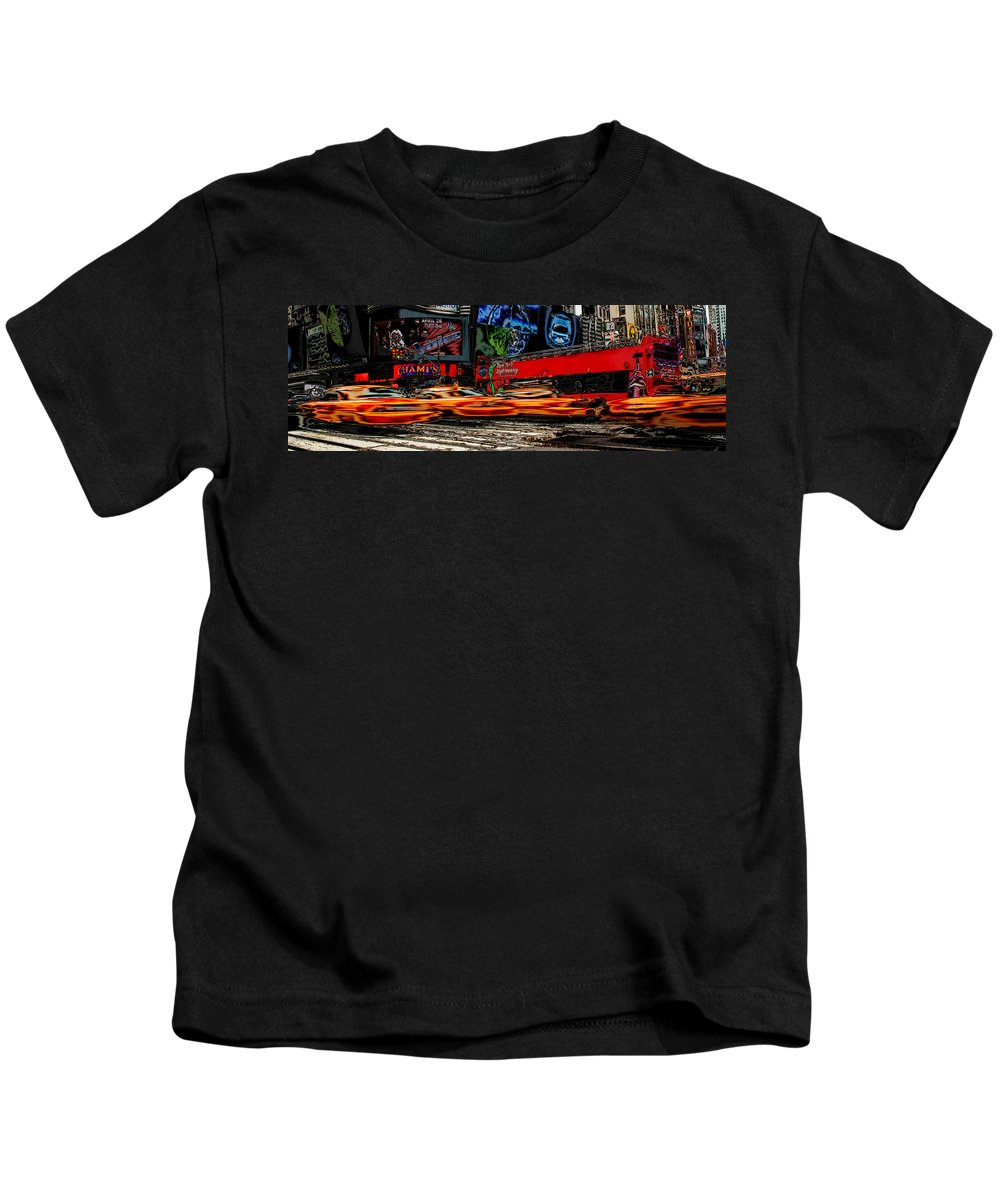 New York Kids T-Shirt featuring the photograph Crazy New York by Andrew Fare