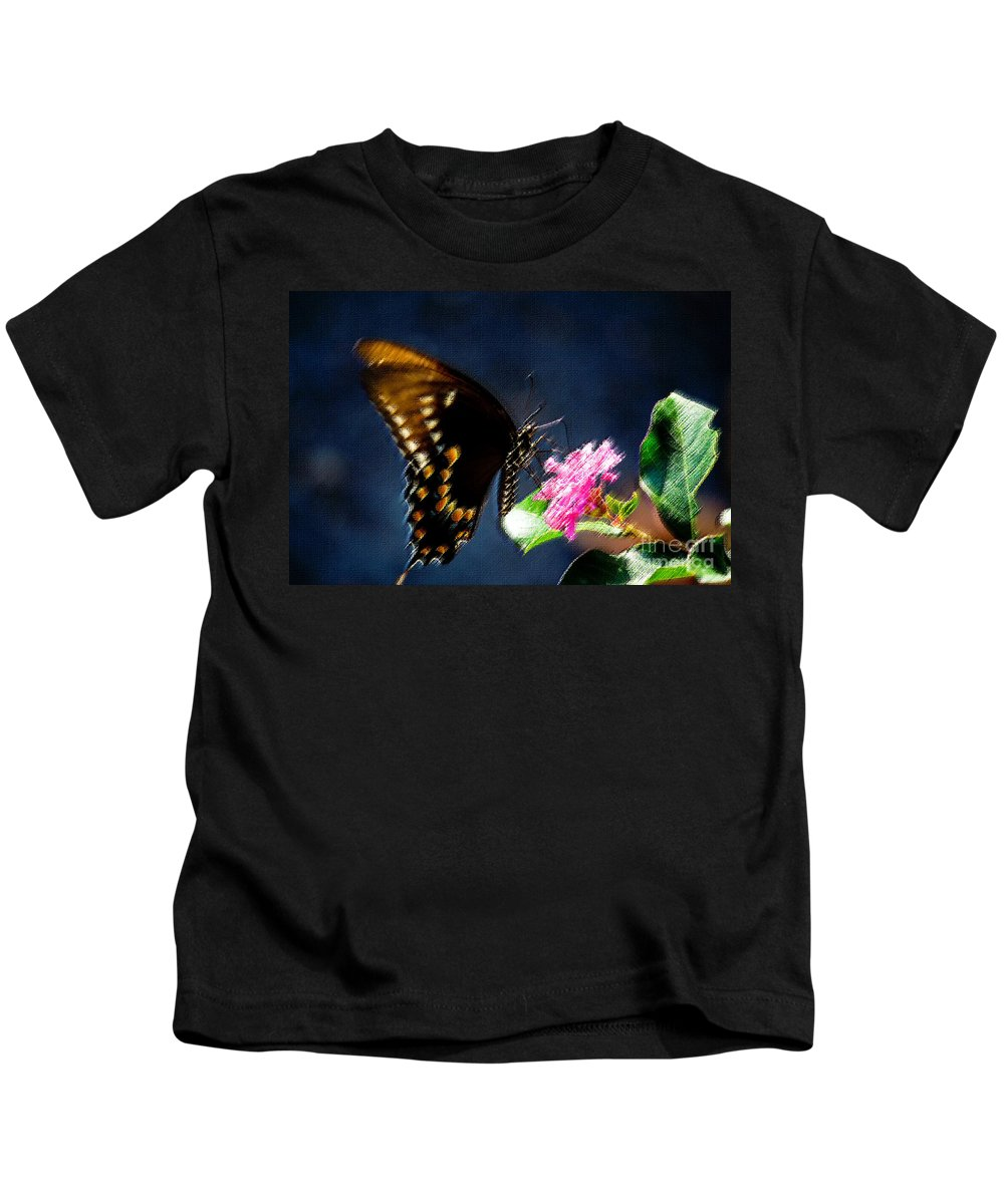 Butterfly Kids T-Shirt featuring the photograph Crepe Myrtle Visitor by Beth Phifer