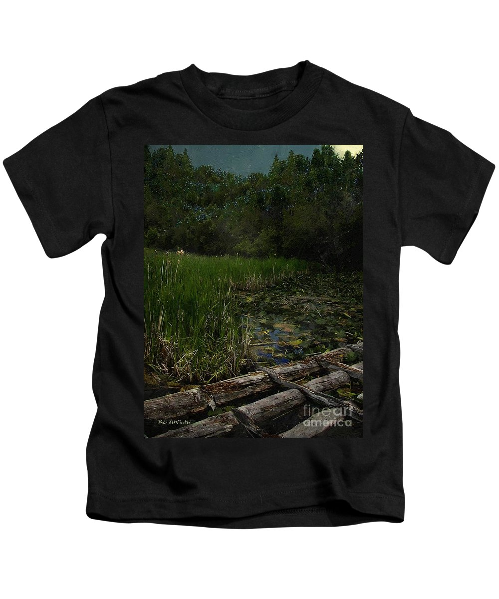 Swamp Kids T-Shirt featuring the painting Crossing The Bog by RC DeWinter