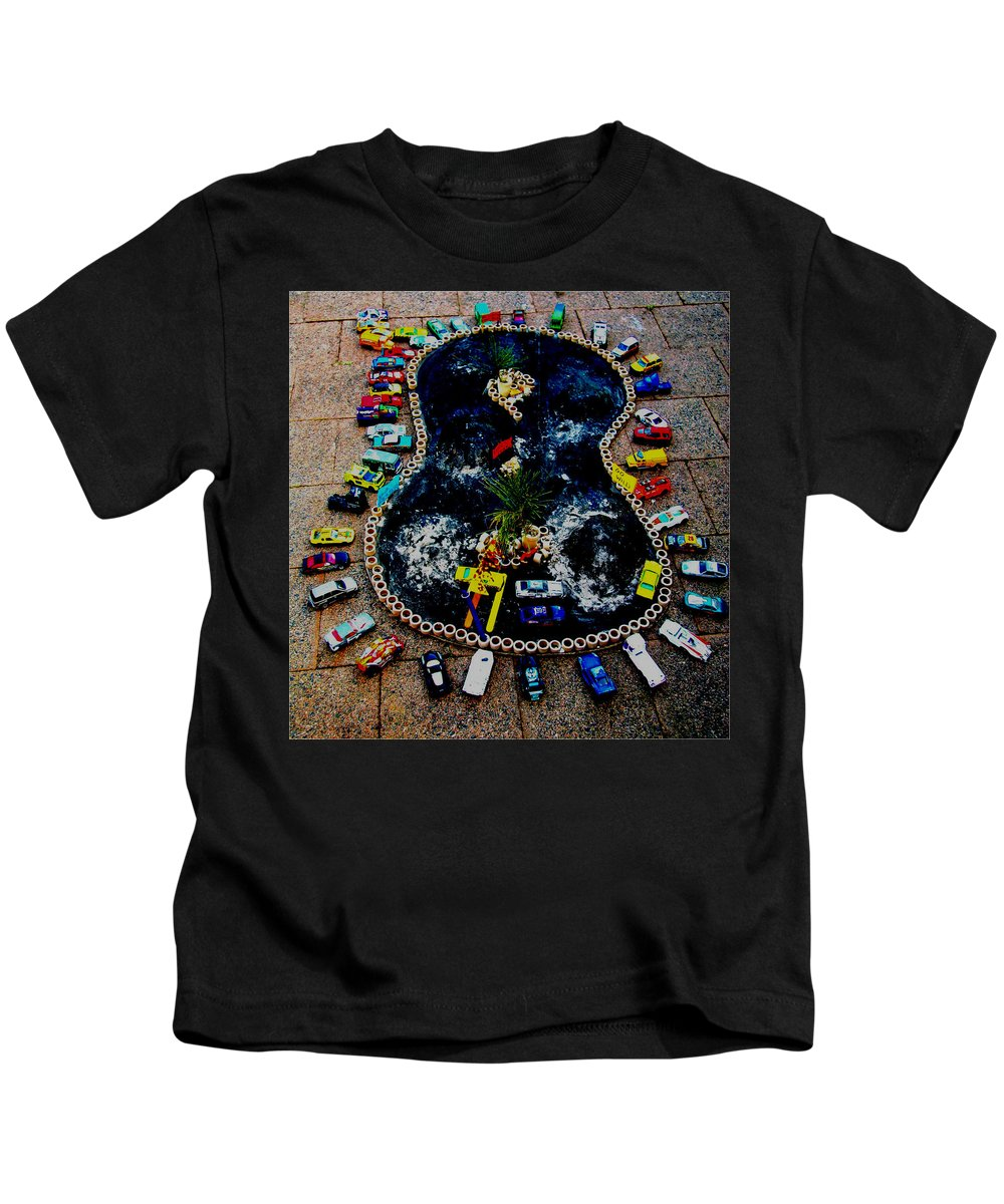 Crowds Kids T-Shirt featuring the mixed media Crowd Of Cars by Karen Elzinga