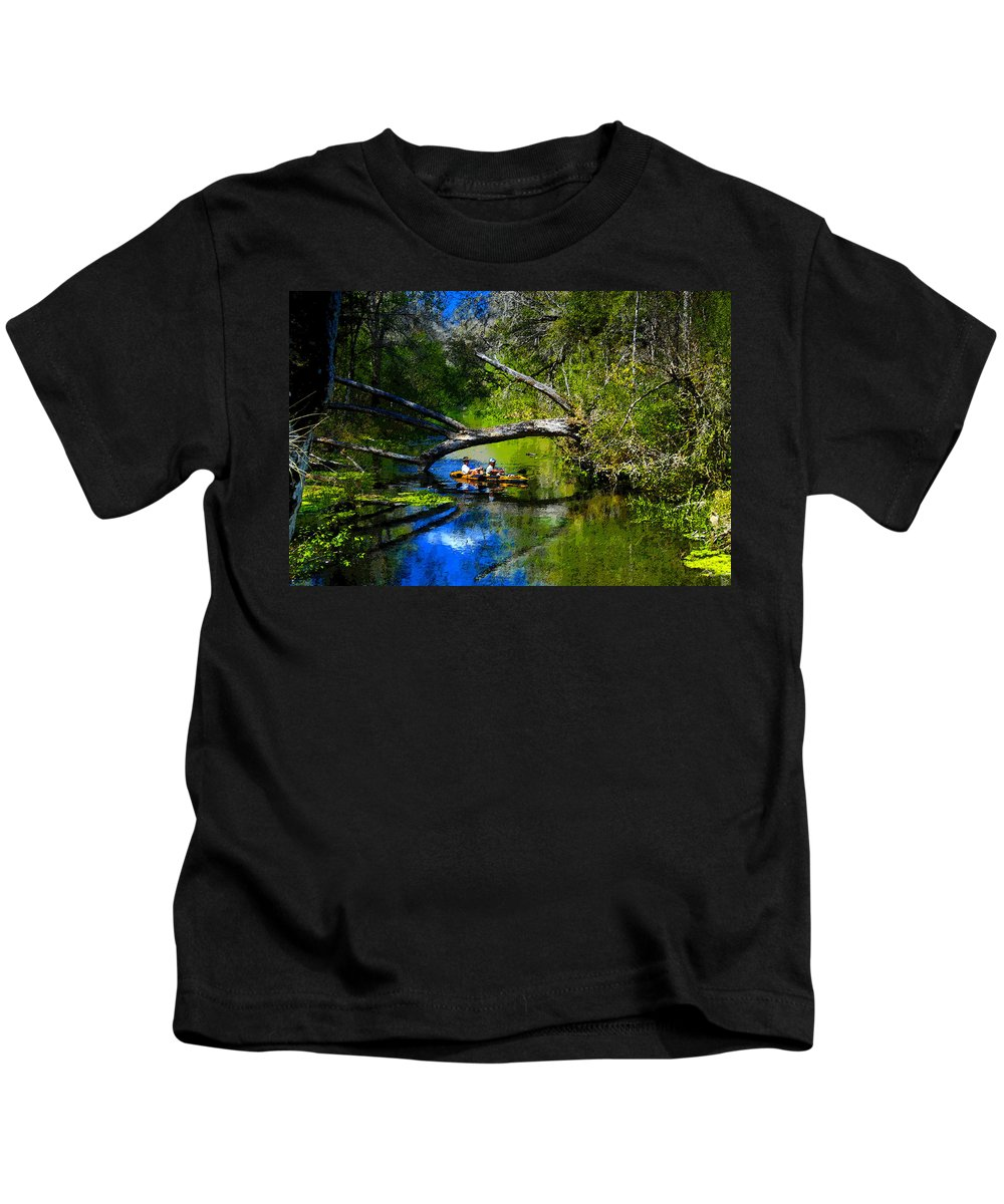 Art Kids T-Shirt featuring the painting Cruising Down The Ichetucknee by David Lee Thompson