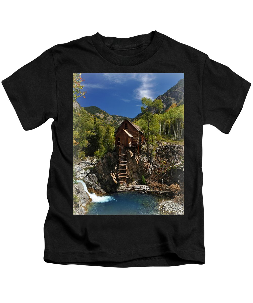 Crystal Kids T-Shirt featuring the photograph Crystal Mill 2 by Marty Koch