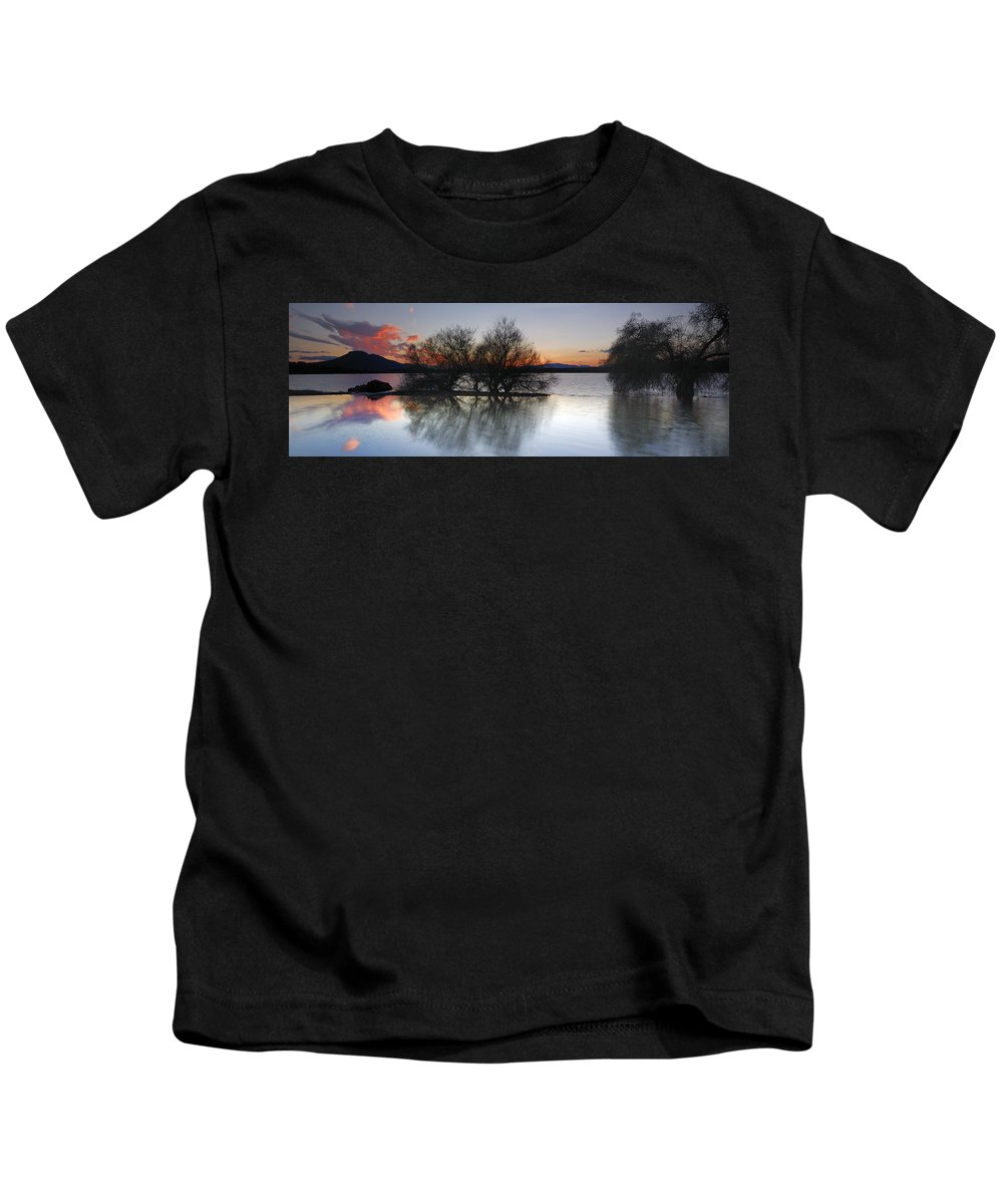Sunset Kids T-Shirt featuring the photograph Cubillas Lake by Guido Montanes Castillo