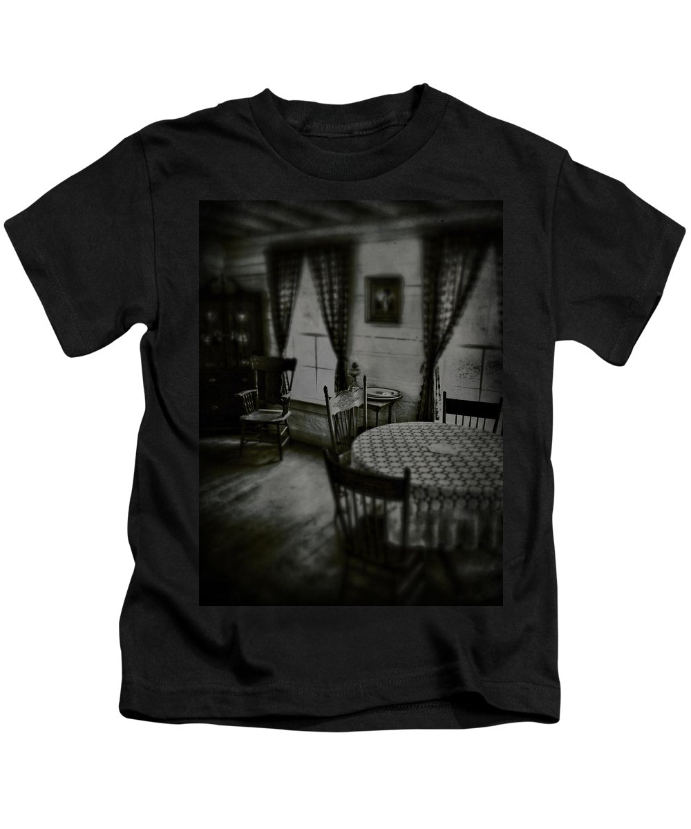 Table Kids T-Shirt featuring the photograph Daddy Sits by The Artist Project