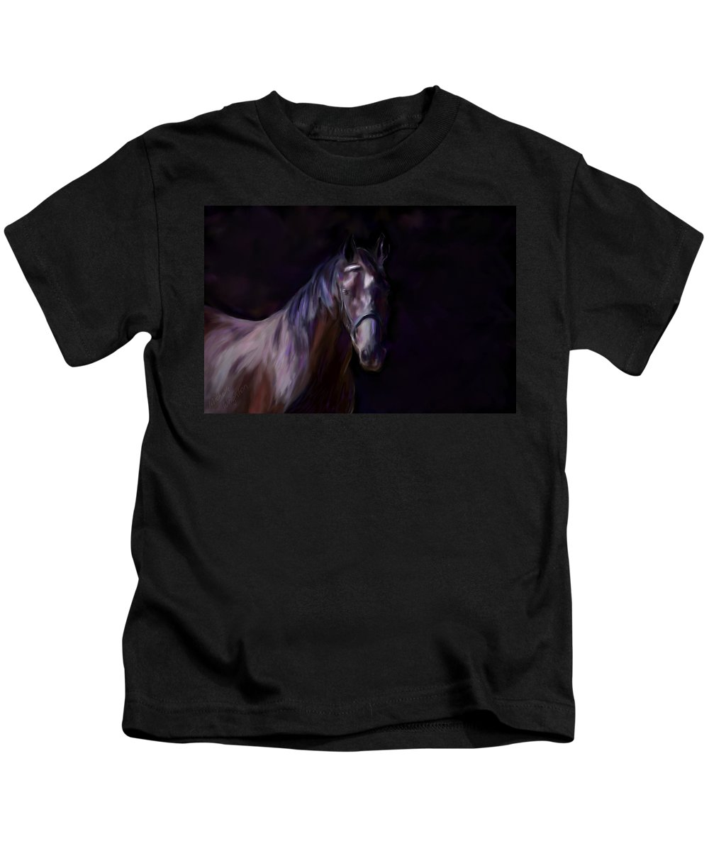 Horse Kids T-Shirt featuring the painting Dark Horse by Michelle Wrighton