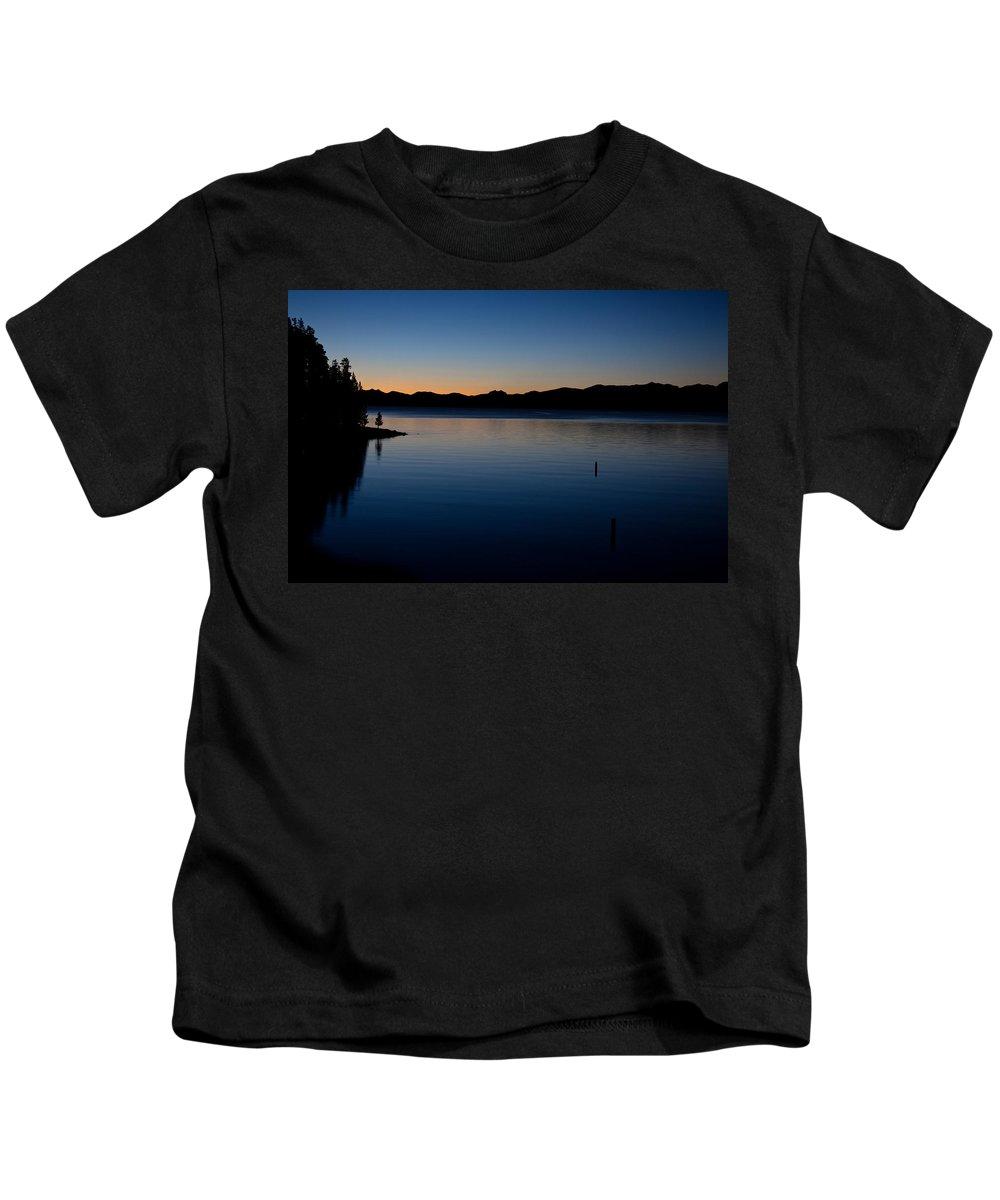 Yellowstone National Park Kids T-Shirt featuring the photograph dawn at Yellowstone Lake by Ralf Kaiser