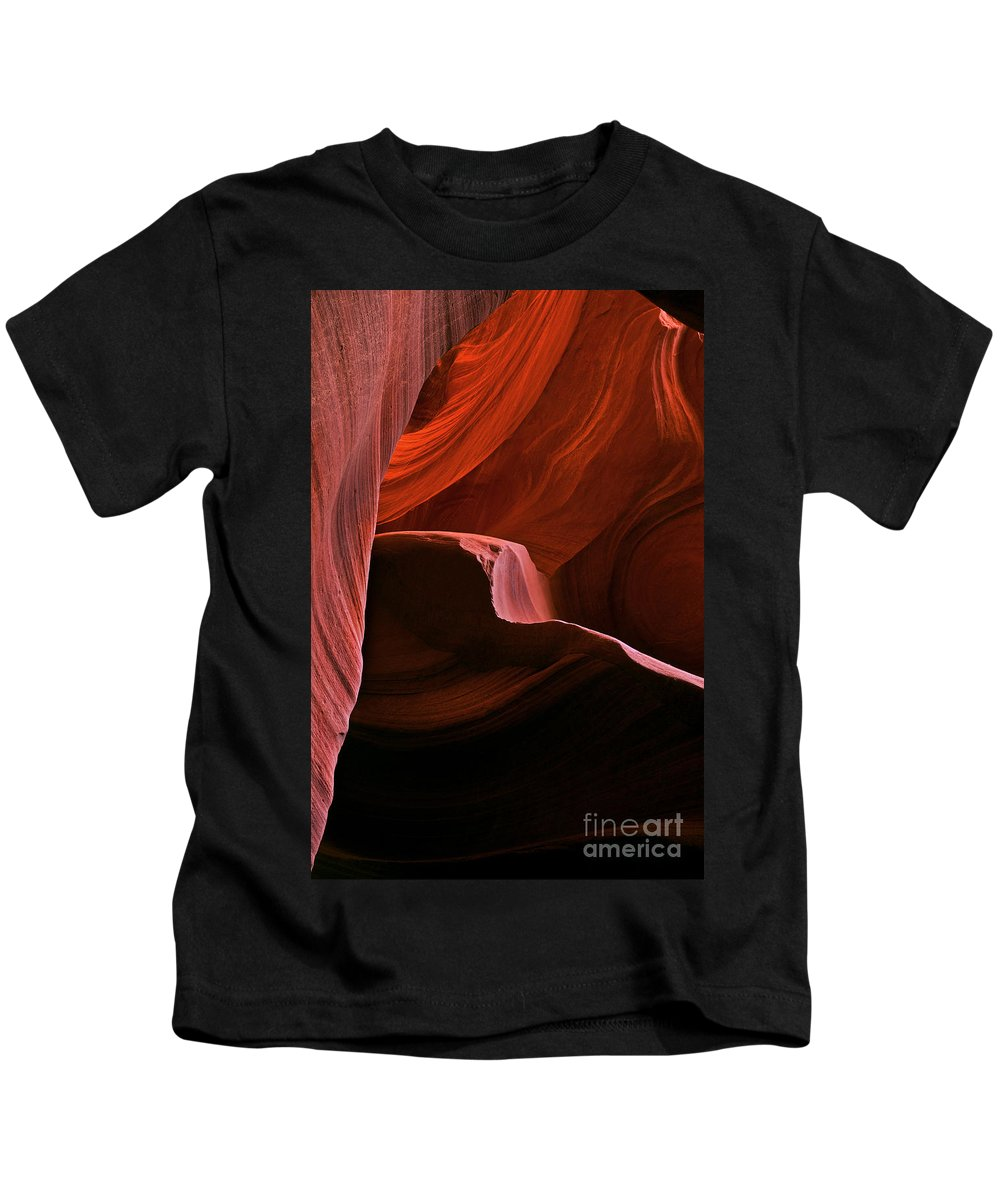Antelope Canyon Kids T-Shirt featuring the photograph Desert Depths by Mike Dawson