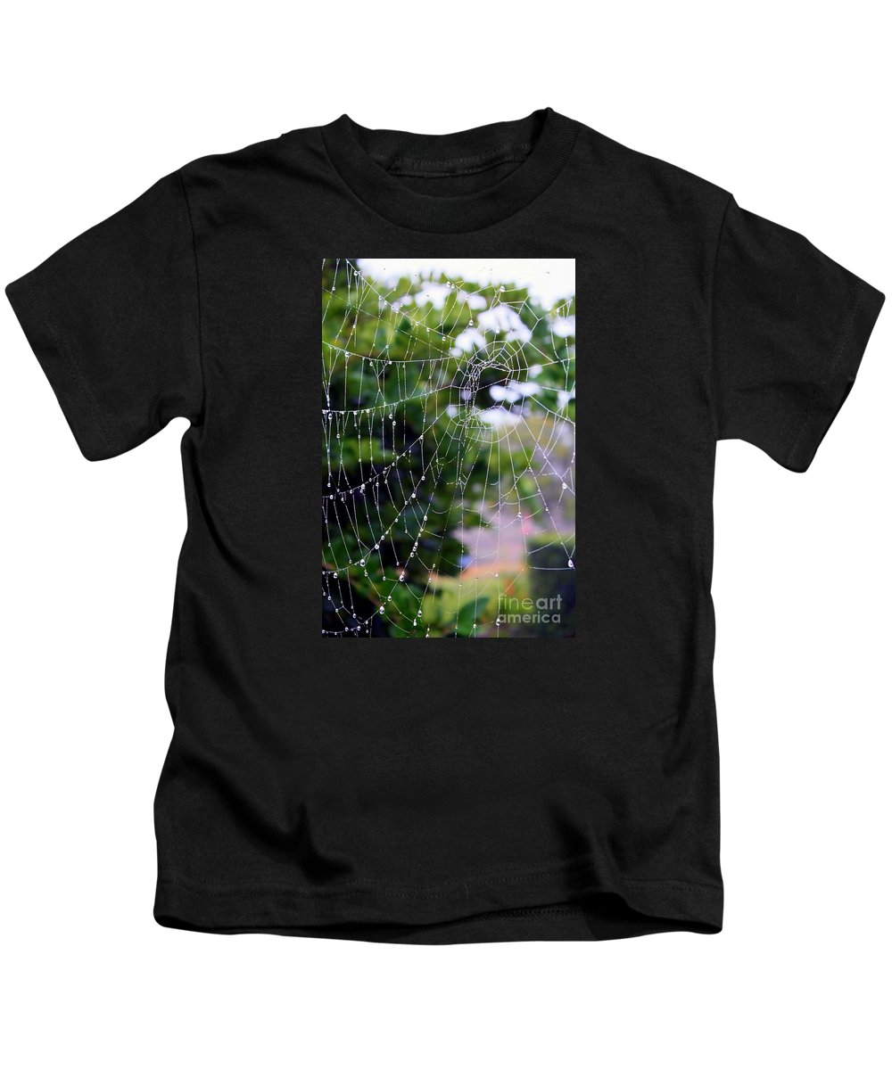 Dewdrops On Spider Web Kids T-Shirt featuring the photograph Dewdrops Dimension by Carol Groenen