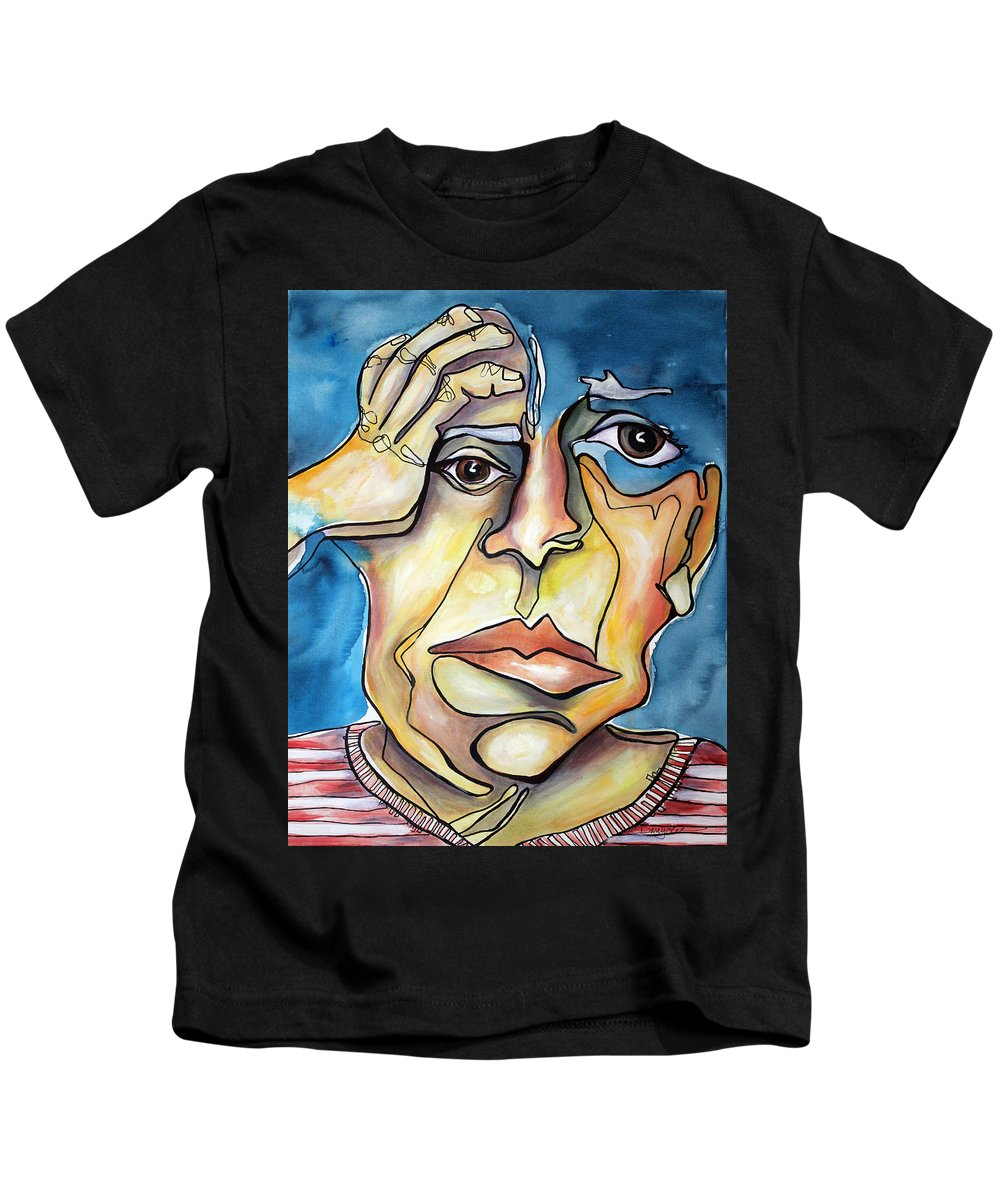 Portrait Kids T-Shirt featuring the painting Disjointed Thought by Darcy Lee Saxton