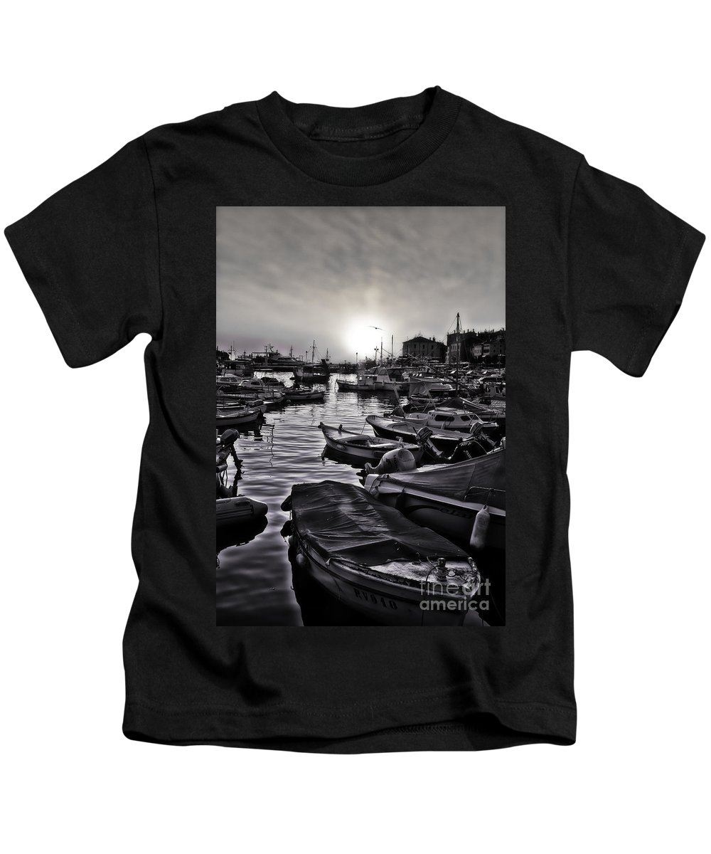 Rovinj Kids T-Shirt featuring the photograph Docked In Rovinj by Madeline Ellis