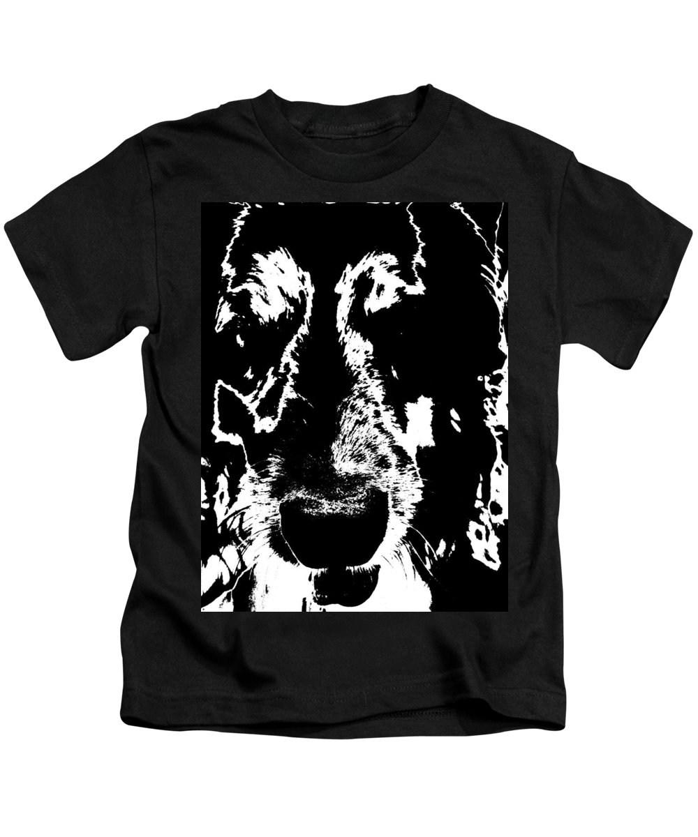 Black And White Kids T-Shirt featuring the photograph Dog Abstract Black And White by Renate Nadi Wesley