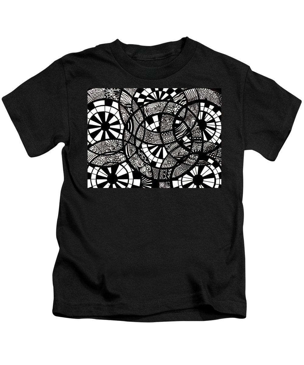 Doodles Kids T-Shirt featuring the drawing Doodle Circular by Karen Elzinga