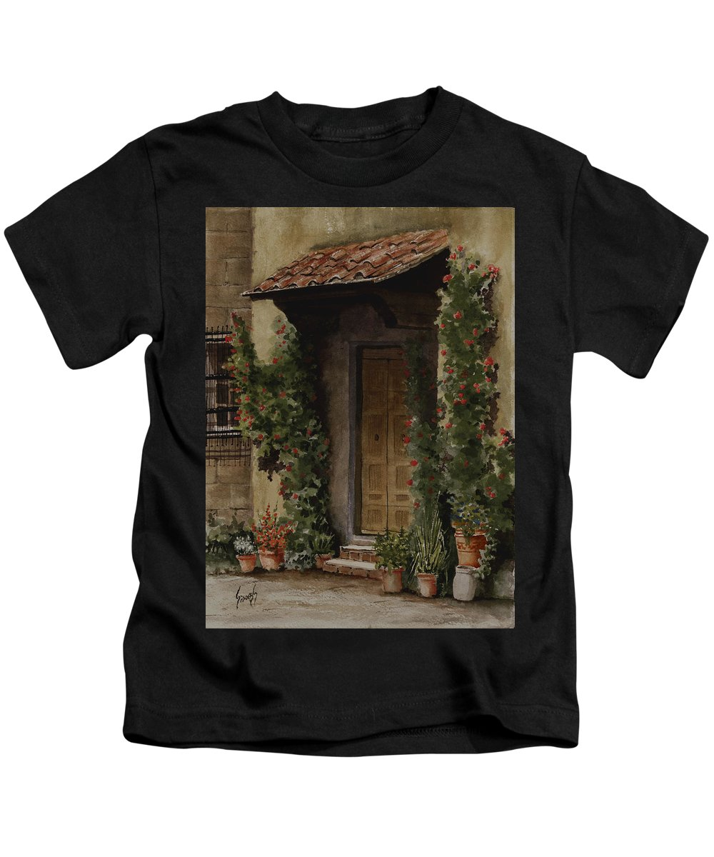 Door Kids T-Shirt featuring the painting Door With Roses by Sam Sidders