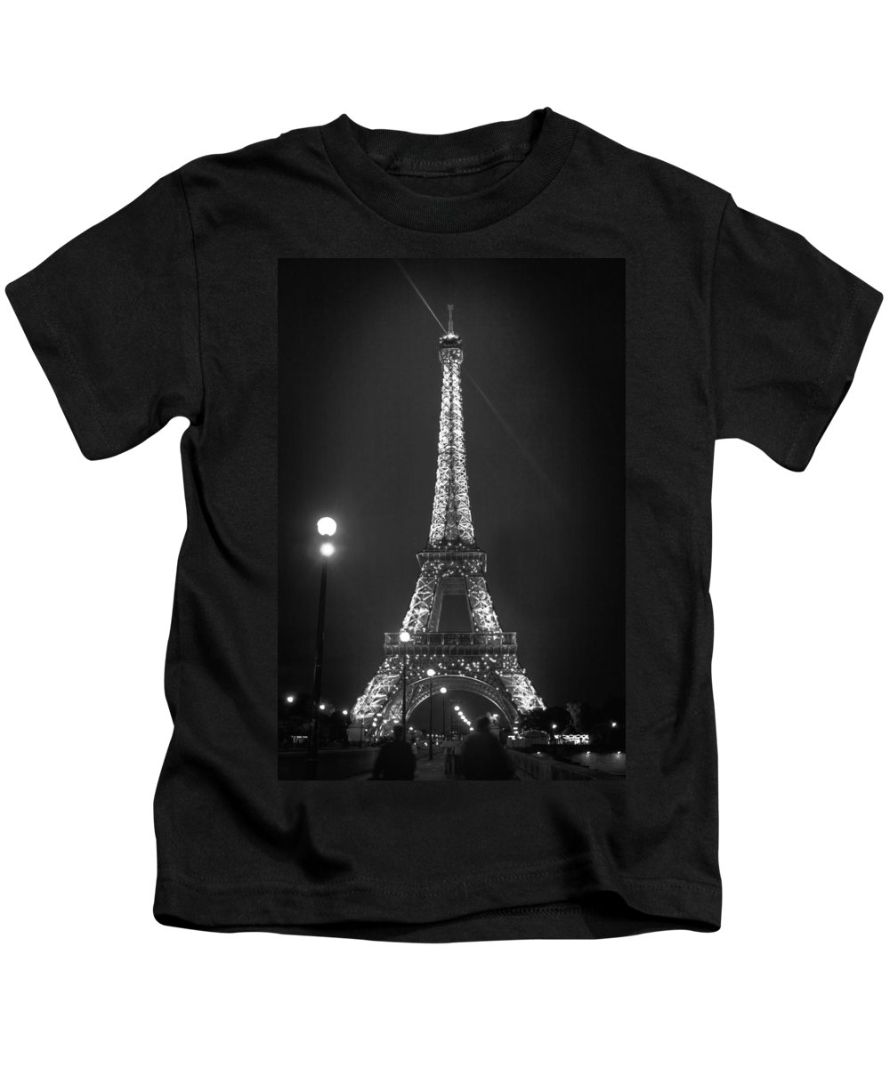 Eiffel By Night Kids T-Shirt featuring the photograph Eiffel By Night by Wes and Dotty Weber