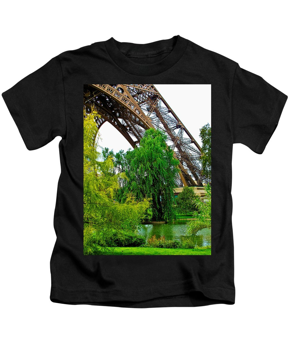 Eiffel Tower Kids T-Shirt featuring the photograph Eiffel Tower Garden by Jim Pruett