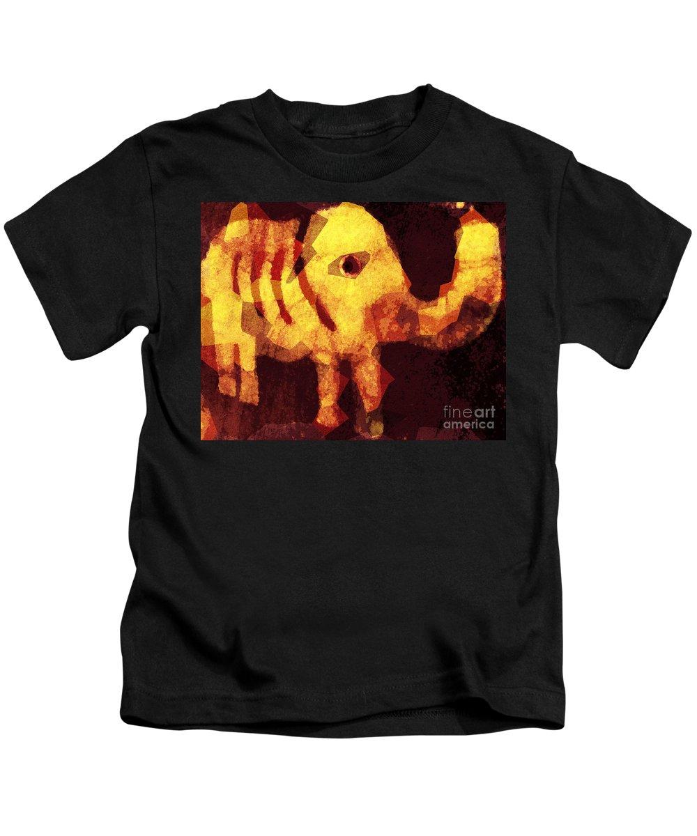 Fania Simon Kids T-Shirt featuring the mixed media Elephant I Am by Fania Simon