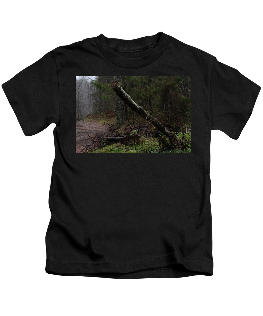 Autumn Kids T-Shirt featuring the photograph Evening In A Pine Forest by Michael Goyberg