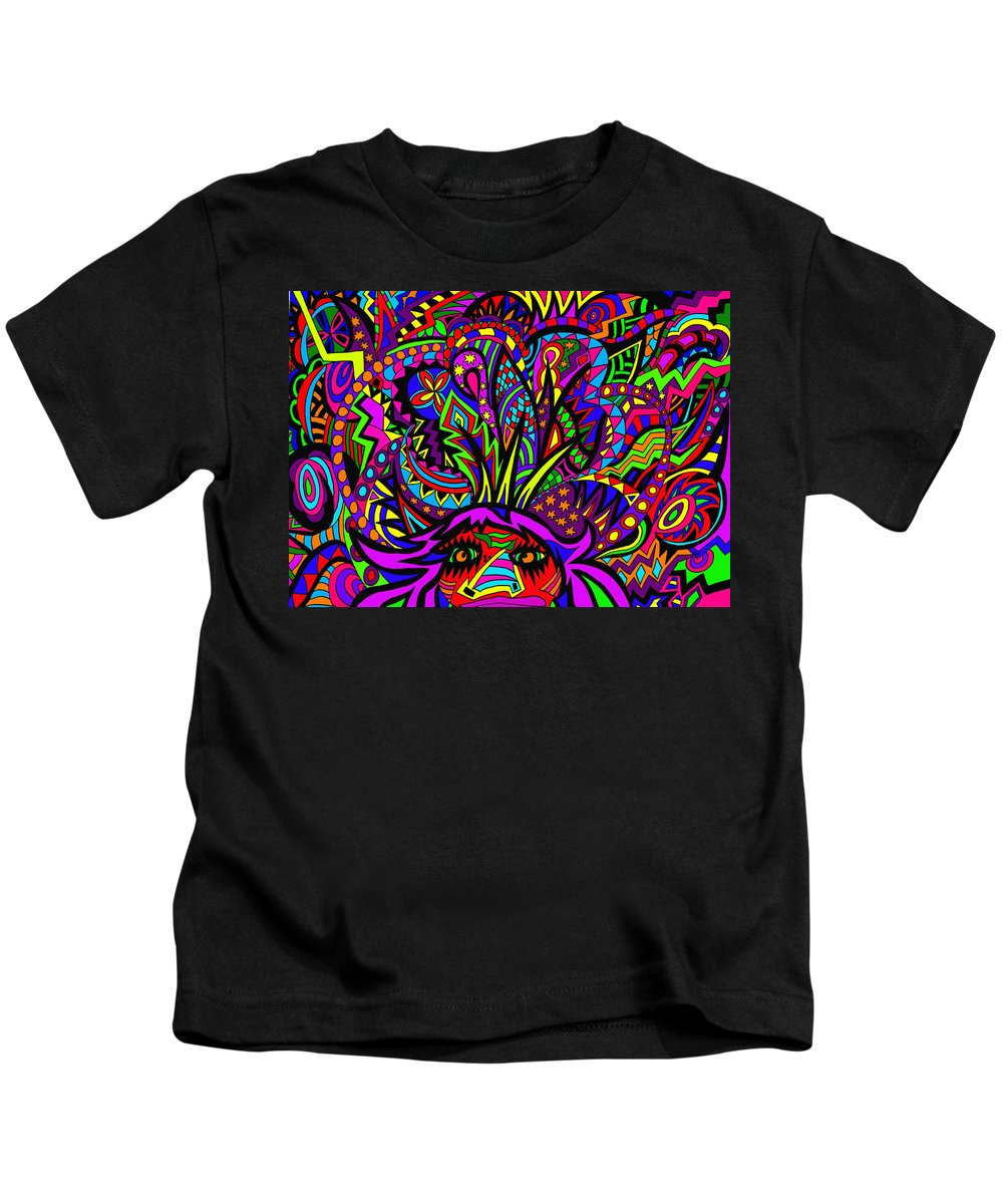 People Kids T-Shirt featuring the painting Exploding Head by Karen Elzinga