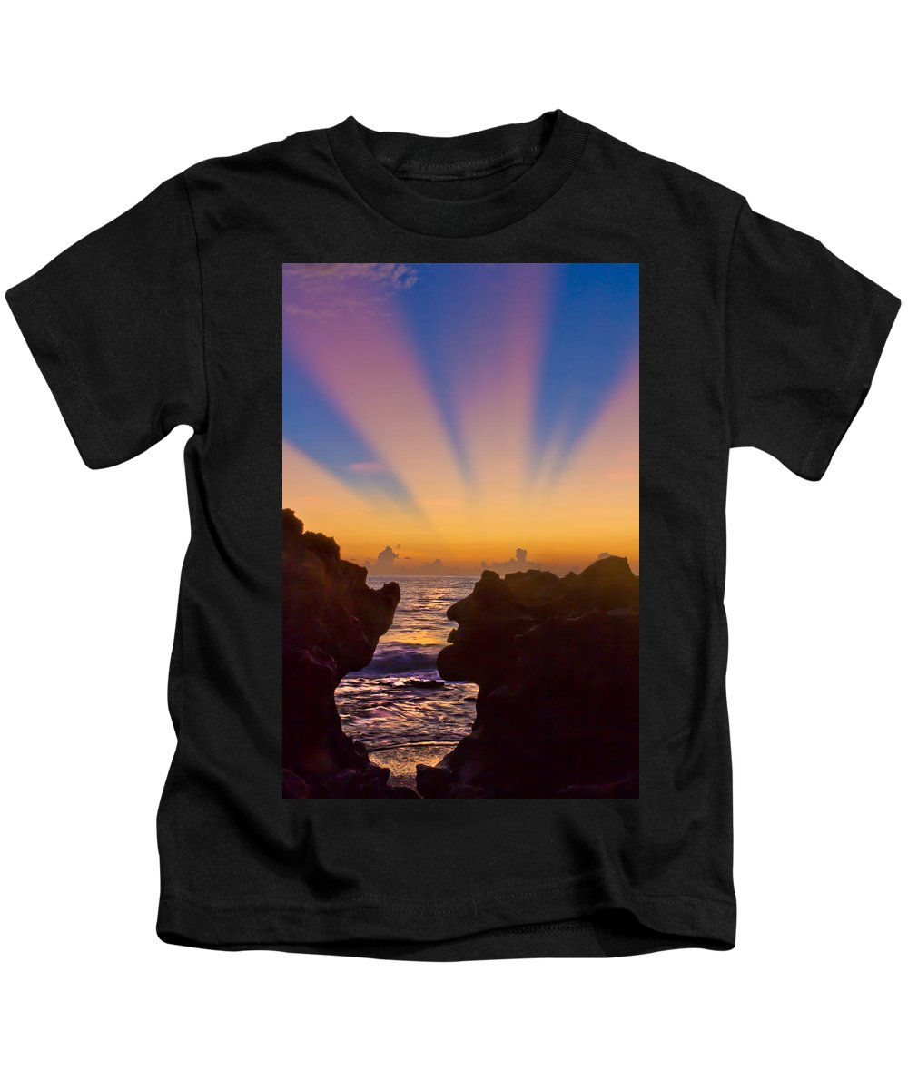 Coral Cove Kids T-Shirt featuring the photograph Face The Morning by Debra and Dave Vanderlaan