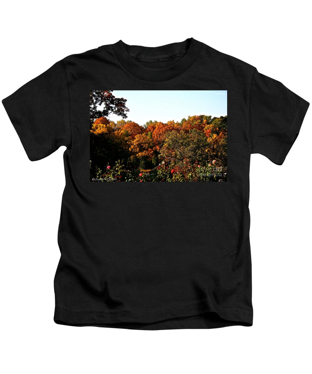 Outdoors Kids T-Shirt featuring the photograph Fall Foliage And Roses by Susan Herber