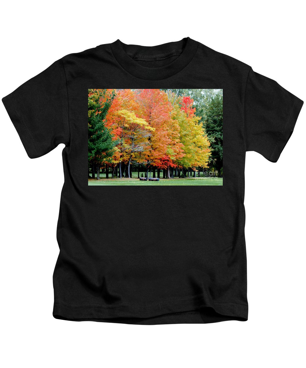Autumn Colors Kids T-Shirt featuring the photograph Fall In Michigan by Optical Playground By MP Ray